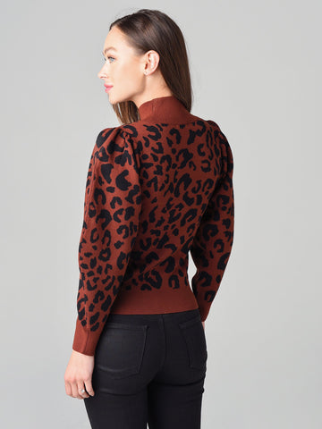 525 America Leopard Mock Neck Sweater - Cinnamon