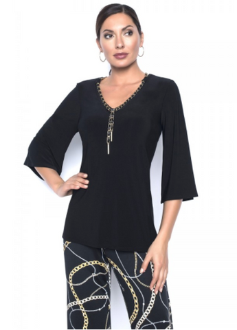 Frank Lyman Chain Detail V-Neck Split Back Top - Black