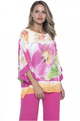 Frank Lyman Dolman Sleeve Floral Print Boxy Top - Pink/Orange/Multi