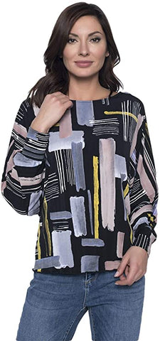 Frank Lyman Design Brushstroke Print Top - Multicolor