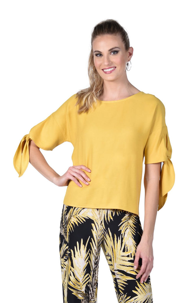Frank Lyman Tie Sleeve Button Back Top - Yellow