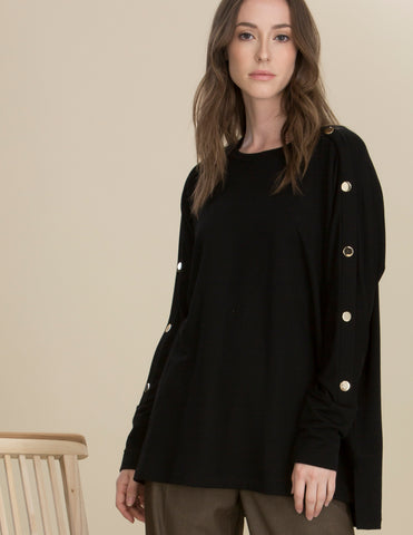 Capote Round Neck Hi/Low Button Sleeve Tunic - Black