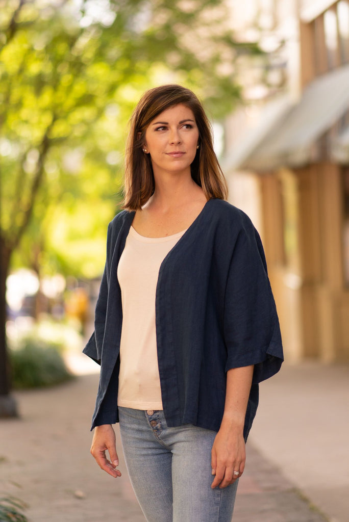 Focus Fashion 3/4 Sleeve Linen Jacket - Cobalt