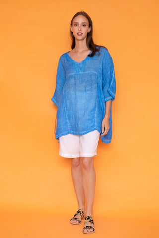 Haris Cotton One-Size Linen Gauze Top - Cobalt
