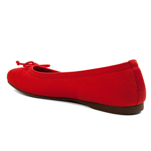 Me Too Mesh Round Toe Bow Flat - Coral Red