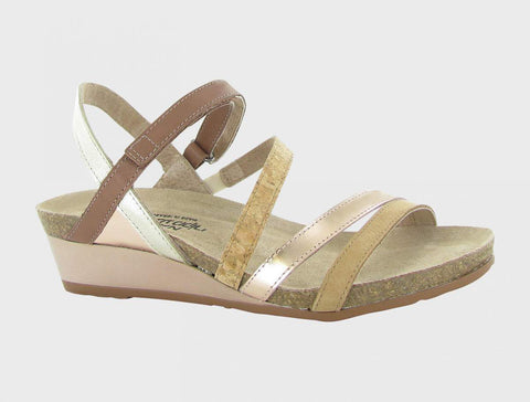 Naot Hero Low Wedge Sandal - Cork Multicolor