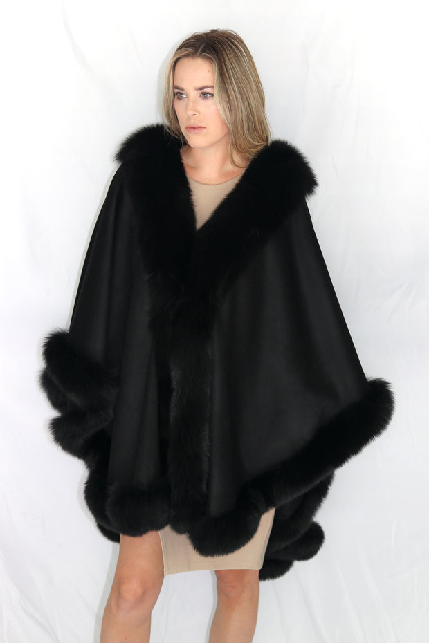 Long Cashmere Cape with Fox Fur Trim - Black Compare At: $2400
