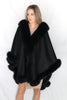 Image of Long Cashmere Cape with Fox Fur Trim - Black Compare At: $2400