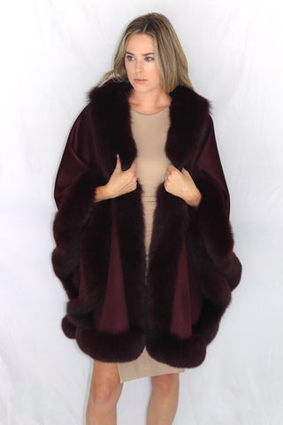 Long Cashmere Cape with Fox Fur Trim - Burgundy Compare At: $2400