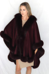 Rippe's Furs Long Cashmere Cape with Fox Fur Trim - Burgundy - Appr. $2400.00