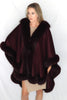 Image of Long Cashmere Cape with Fox Fur Trim - Burgundy Compare At: $2400