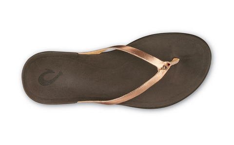 OluKai Ho'ōpio Leather Toe Post Sandal - Copper