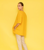 Image of Haris Cotton Boxy Linen Pocket Button Detail Top - Yellow