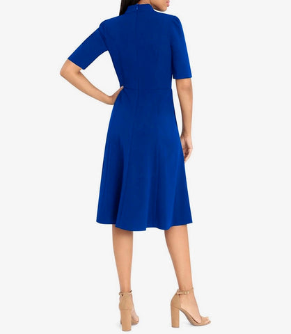 Donna Morgan Short Sleeve Pleated Dress - Blue
