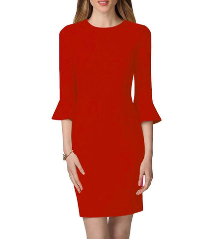Donna Morgan 3/4 Bell Sleeve Dress - Red