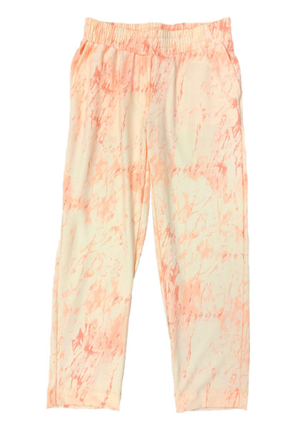 Nally & Millie Marble Print Athleisure Pant - Coral/Eggshell