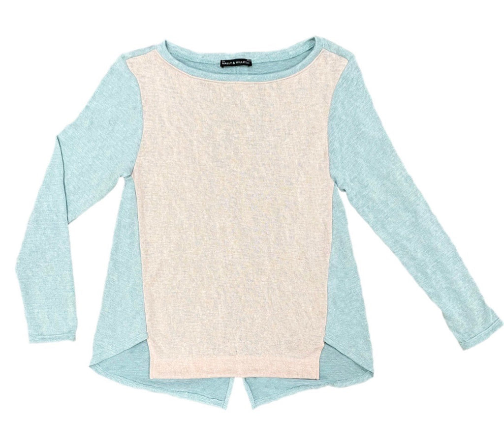 Nally & Millie Color Block Long Sleeve Top - Blush/Mint