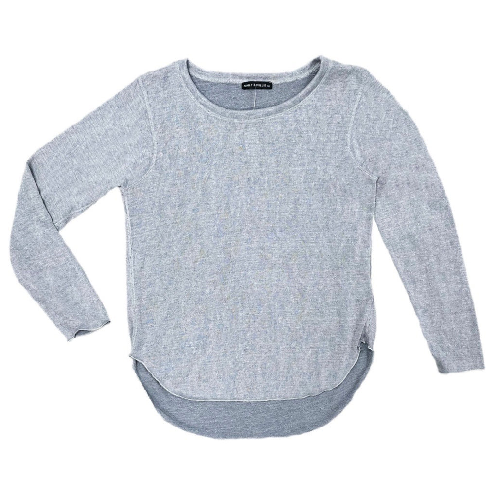 Nally & Millie Long Sleeve Hi/Low Lightweight Knit Top - Gray