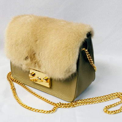 Mink Flap Bag - Taupe