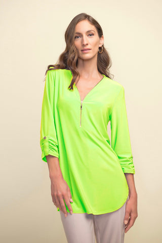 Joseph Ribkoff Zippered V-Neck Swing Top - Limelight