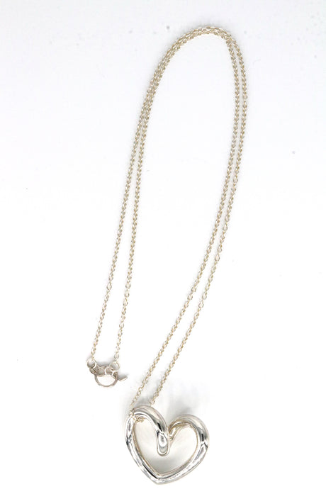 Sterling Silver Long Chain Twisted Heart Necklace