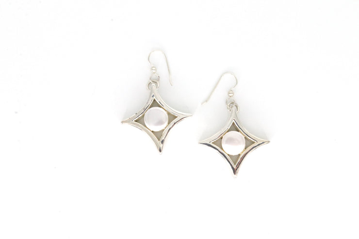Simon Sebbag Designs - Sterling Silver Diamond-Shaped Drop Earring with Mother of Pearl Center