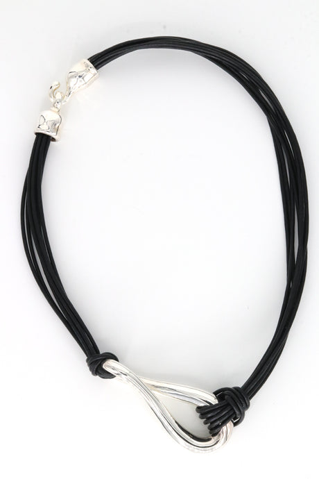 Sterling Silver Infinity Loop Necklace Black Leather