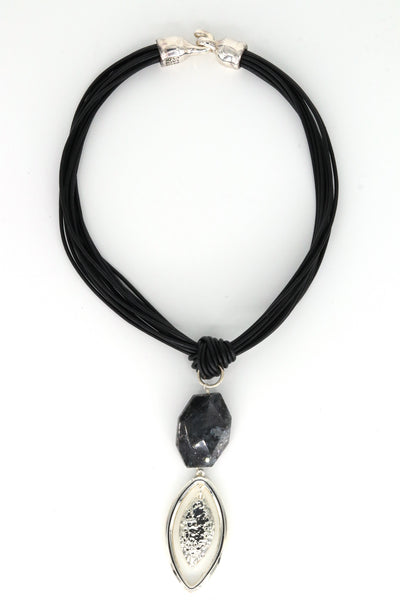 Simon Sebbag Designs - Sterling Silver Feather Charm & Black Leather Rope Necklace