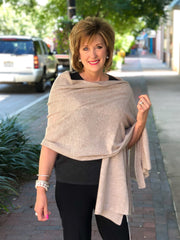 InCashmere Pure Cashmere Shawl Scarf - Heather Taupe