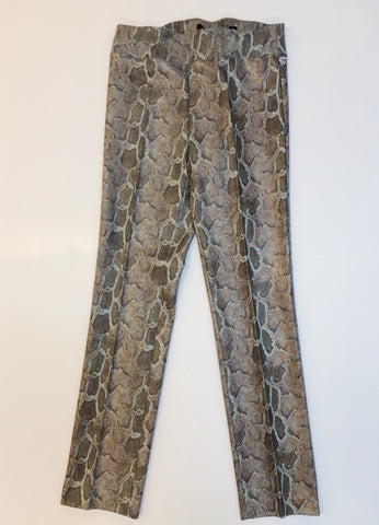 Insight New York Python Print Textured Knit Straight Leg Pant - Taupe/Blue Multi