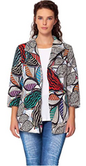 Isle by Melis Kozan Tulum Print 3/4 Sleeve Jacket - Multicolor