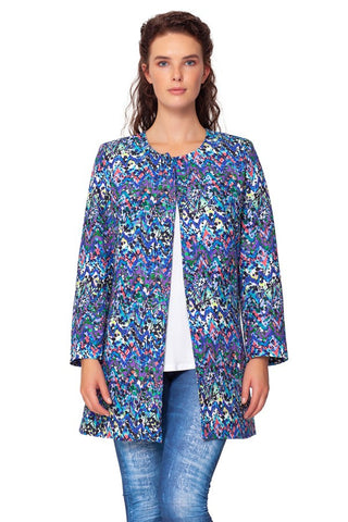 Isle by Melis Kozan Olive Branch Print Long Sleeve Jacket - Multicolor