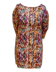 "Isle by Melis Kozan ""Athens"" Print 3/4 Sleeve Dress Reverse to Leopard Print - Multicolor"