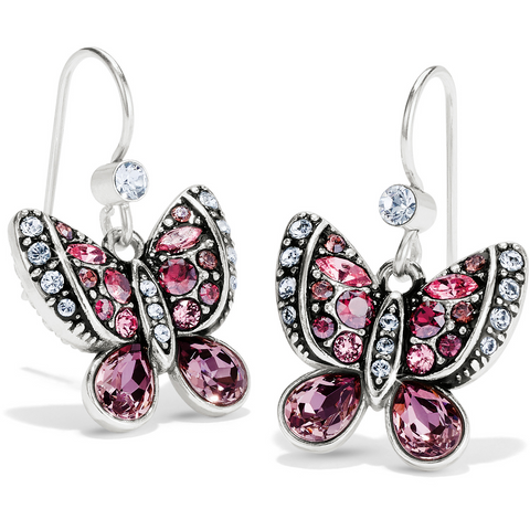 Brighton Collectibles Trust Your Journey Butterflies French Wire Earrings - Silver/Rose