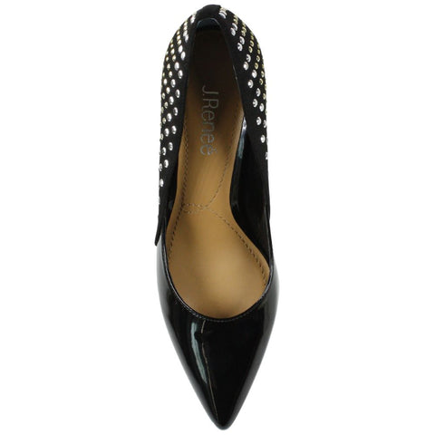 J. Renee Jakey Studded Mixed Media Pump - Black