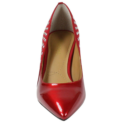 J. Renee Jakey Studded Mixed Media Pump - Red