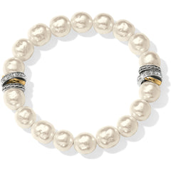 Brighton Collectibles Neptune's Rings Pearl Stretch Bracelet - Silver/Rose Gold