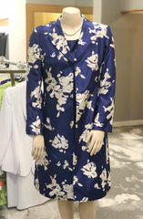 John Meyer Collection Two-Piece Floral Print Coat Dress Suit - Blue/Ivory