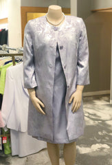 John Meyer Collection Plus Size Two-Piece Jacquard Coat Dress Suit - Lilac