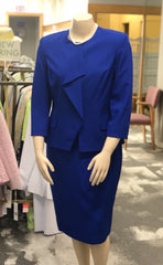 John Meyer Collection Plus Size Two-Piece Ruffle Front Skirt Suit - Royal Blue