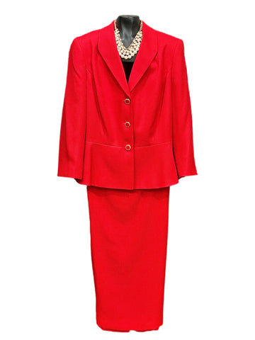 John Meyer Collection Two Piece Skirt Suit - Red