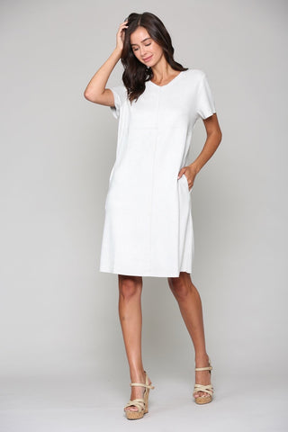 Joh Apparel Washable Faux Suede Short Sleeve V-Neck Dress - Silver