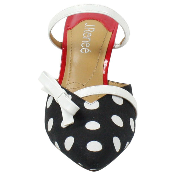J. Reneé Estelia Point Toe Polka Dot Mule - Black/White/Red