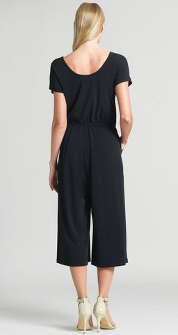 Clara Sunwoo Wide Leg Midi Jumpsuit with Pockets - Black