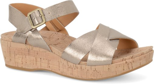 Kork-Ease Myrna 2.0 Leather Wedge - Soft Gold