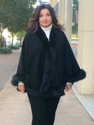 Cashmere Cape with Fox Fur Trim - Black