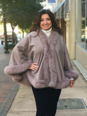Cashmere Cape with Fox Fur Trim - Mocha Compare At: $1500