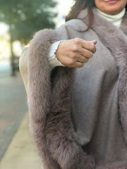Cashmere Cape with Fox Fur Trim - Mocha