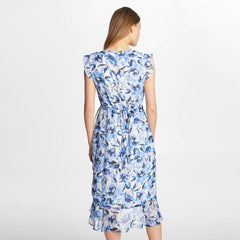 Karl Lagerfeld Paris Faux Wrap Midi Dress with Flutter Sleeve - Blue Floral
