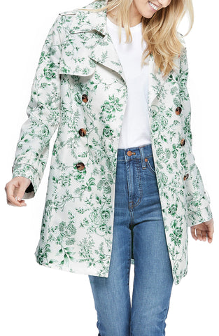 Gal Meets Glam Floral Belted Raincoat - Mint/Multicolor - Sugg. $265.00